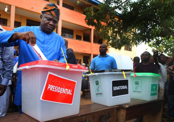 Lagos State Governor, Mr. Akinwunmi Ambode; casts his vote during the Presidential and NASS Elections at Ward A5 Polling Unit 033, Ogunmodede College, Papa, Epe, on Saturday, February 23, 2019.