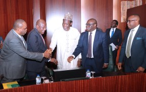 PRESIDENT BUHARI PRESIDES OVER SIGN OF NSEZCOM AND ITS INVESTMENT PARTNERS 3B. R-L; Managing Director and Chief Executive officer Nigerian Sovereign Investment Authority (NSIA). Mr. Uche Orji, Director of NSEZOM, Mr Femi Edun,Representatives of MOFI, Dr Bakari Wadinga, Managing Director Bank of Industry, Mr Olukayode Pitan and President of Afreximbank, Dr Benedict Oramah during the signing of agreements between Afreximbank, BOI and NSIA with the Nigeria Special Economic Zones Investment Company (NSEZCOM) and it's Strategic Investment Partners held at the Council Chambers, State House in Abuja. PHOTO; SUNDAY AGHAEZE. FEB 8, 2019