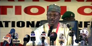 INEC chairman, Prof. Mahmood Yakubu speaking during the formal opening of the 2019 presidential and National Assembly elections Result Collation Centre, in Abuja on Sunday (24/2/19). 01726/24/2/2019/BJO/NAN