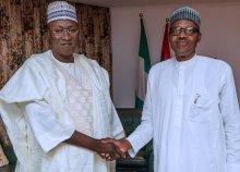 President Buhari with Alhaji Bala Tinka on Thursday at State House
