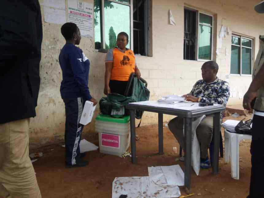 Ward and LGA results for Imo East (Owerri Zone) still being collated at the Owerri Municipal LGA headquarters in Owerri, Imo state.
