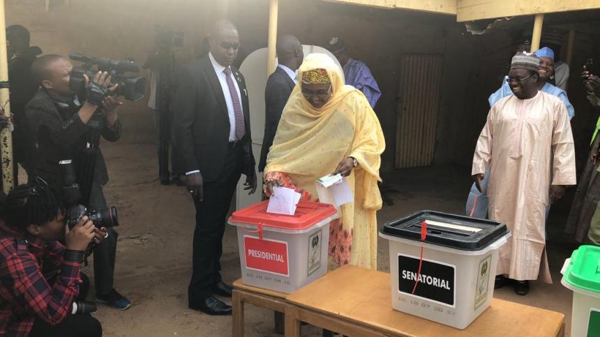 The Presidents wife, Aisha Buhari voting