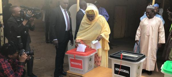 The Presidents wife, Aisha Buhari voting