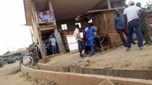 12:57pm: Ward 10, Unit 5, Abeokuta South LG, Ogun Central Senatorial District, Ogun State. Campaign banner of PDP, showing picture of Atiku and Co is seen at the top of the storey building where voting exercise is taking place. Campaign posters round the building were left alone, which should not be.