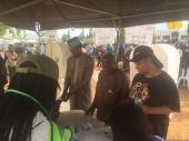 Yusuf Buhari being accredited at the polling unit