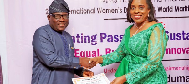 The Representative of the Managing Director, Nigerian Ports Authority (NPA), and the General Manager, Corporate and Strategic Communications, Engr. Adams Jatto, presented a Certificate of Recognition to Barr. Ms. Obiageli Obi during the 2019 MMS Hall of Famers' Day/Night of Empowerment in Lagos on Tuesday.