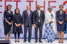 L-R CEO, Tony Elumelu Foundation, Tony Elumelu (third from right), flanked by the Wife to the President, Aisha Buhari (2nd from right), Dr. Awele Elumelu, incoming CEO, Ifeyinwa Ugochukwu (left); Ambassador of Israel to Nigeria, Ambassador Shimon Ben-Shoshan at the selection and unveiling of the 5th set of the Tony Elumelu Foundation Entrepreneurship Programme in Abuja on Friday.