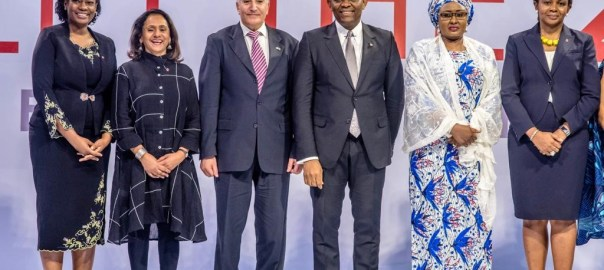 L-R CEO, Tony Elumelu Foundation, Tony Elumelu (third from right), flanked by the Wife to the President, Aisha Buhari (2nd from right), incoming CEO, Tony Elumelu Foundation, Ifeyinwa Ugochukwu (right); Ambassador of Israel to Nigeria, Ambassador Shimon Ben-Shoshan, and Trustee, Tony Elumelu Foundation, Awele Elumelu, at the selection and unveiling of the 5th set of the Tony Elumelu Foundation Entrepreneurship Programme in Abuja on Friday.