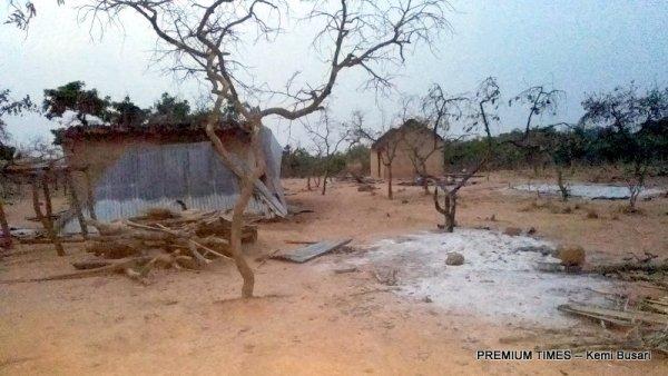 Destroyed Fulani homes