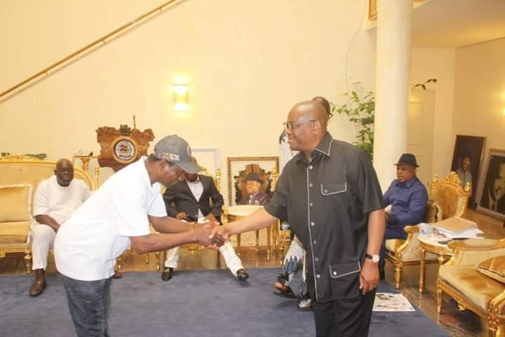 Governor Wike receiving Mr Akpo Yeeh at Government House, Port Harcourt