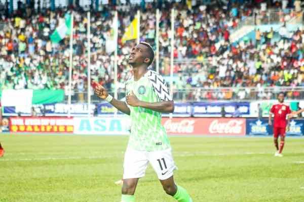 Henry Onyekuru Celebrates after his goal agianst Seychelles PHOTO CREDIT PREMIUM TIMES