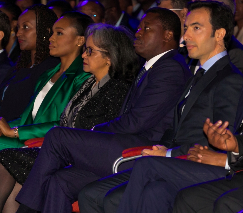 L-R: Minister of Trade and Industry of Rwanda, Soraya Hakuziyaremye; Globacom's Executive Vice Chairman, Mrs Bella Disu; Ethiopian President, Sahle-Work Zewde, Togolese President,Faure Gnassingbé; and President of Africa CEO Forum, Amir Ben Yahmed, at the 2019 Africa CEO Forum in Kigali, Rwanda, on Monday.