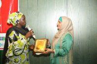 Nahida Esmail from Tanzania receiving her award at the 2018 Awards