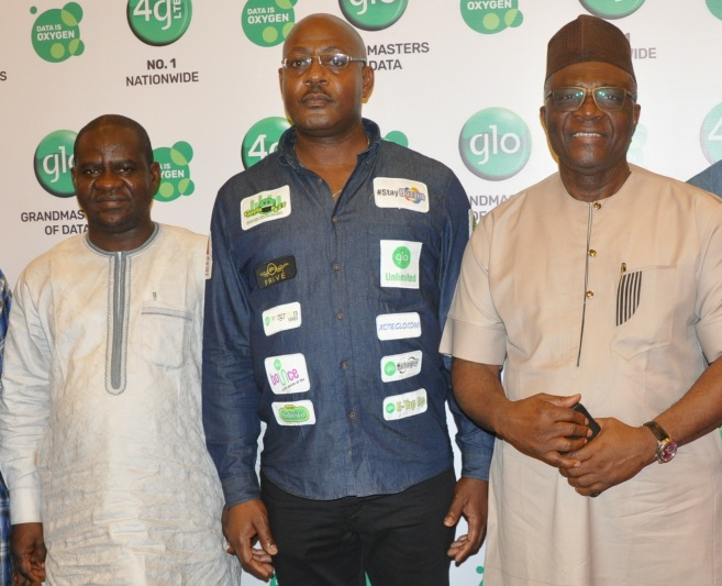 Musikiliu Mojeed, Chief Operating Officer, Premium Times; Bisi Koleoshe, Deputy Chief Operating Officer (Technical), Globacom; Bayo Onanuga, and Managing Director, News Agency of Nigeria, at the presentation of Globacom's New Business Direction in Lagos on Friday.