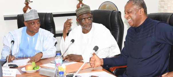 From left: Minister of Defence, retired Brig-Gen. Mansur Dan-Ali; Minister of Education, Malam Adamu Adamu and Minister of Foreign Affairs, Mr Geofery Onyeama, during the swearing in of the 2019 Interministerial Presidential Inauguration Committee in Abuja on Thursday (14/3/19). 02200/14/3/2019/Anthony Alabi/NAN