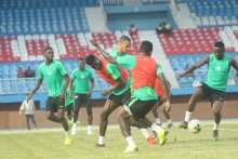 Super Eagles players during their last training session for the game against Seychelles (Photo Credit: PREMIUM TIMES)