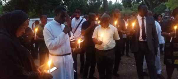Sympathisers at the candlelight procession for Late Pius Adesanmi