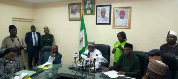 The minister of education, Adamu Adamu addressing the press
