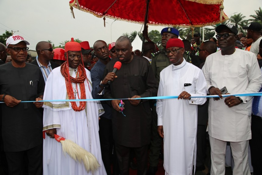 Former Governor of Delta State, Chief James Ibori (3rd left); Delta State Governor, Senator Ifeanyi Okowa (2nd right); Delta State PDP Chairman, Barr. Kingsley Esiso (left); His Royal Majesty Orhur the I, Orodje of Okpe Kingdom (2nd left); Chairman, Sapele Local Government Area, Chief Eugene Okpeh (left) and Others, during the Commissioning of Sapele/Warri Road, from Amukpe Roundabout by Expressway to Okirighwre to AT and P Roundabout Sapele, Delta State. PIX; JIBUNOR SAMUEL.