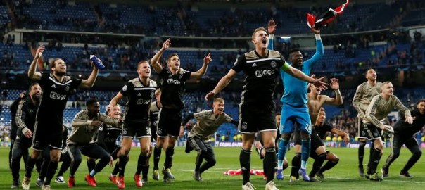 Ajax celebrates after beating Real Madrid in the UEFA Champions League