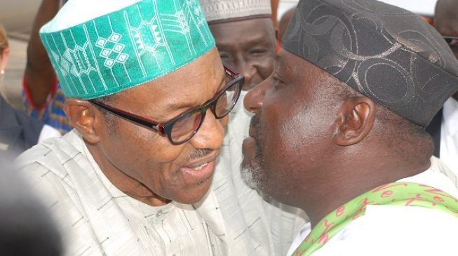 President Muhamadu Buhari and RGov. Rocha Okorocha [Photo: National Daily]