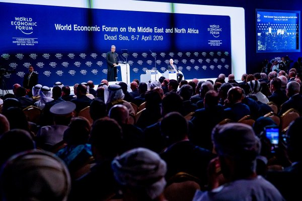 President Muhammadu Buhari delivering a keynote address at the Opening Plenary of the World Economic Forum on the Middle East and North Africa today in Amman Jordan.