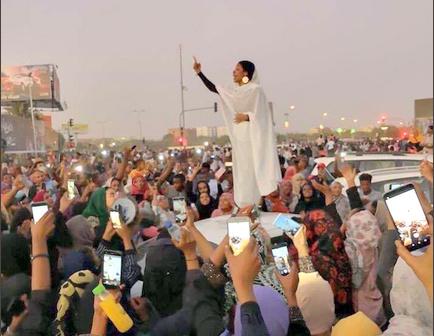 22 Year old female activist, Alaa Salah. [PHOTO CREDIT: Official Twitter handle of Alaa Salah]
