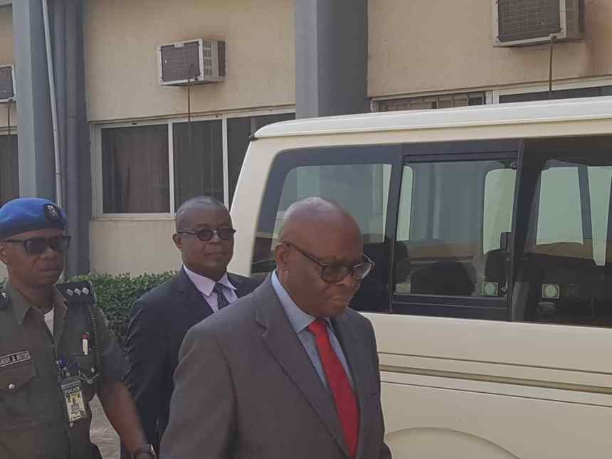 Suspended CJN, Walter Onnoghen arriving the Code of Conduct Tribunal today