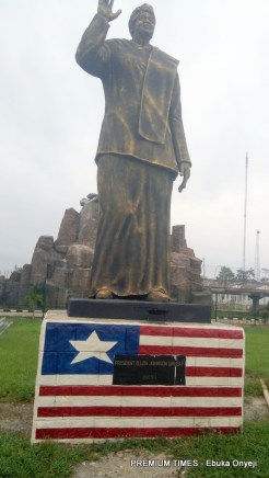 Statue of Ellien Johnson Sirleaf, immediate past Liberian President.