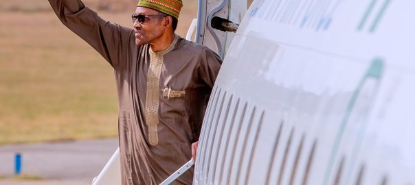 President Buhari getting onboard the presidential jet as he departed Abuja for Amman, Jordan, to attend the World Economic Forum on the Middle East... [Photo: Presidency]