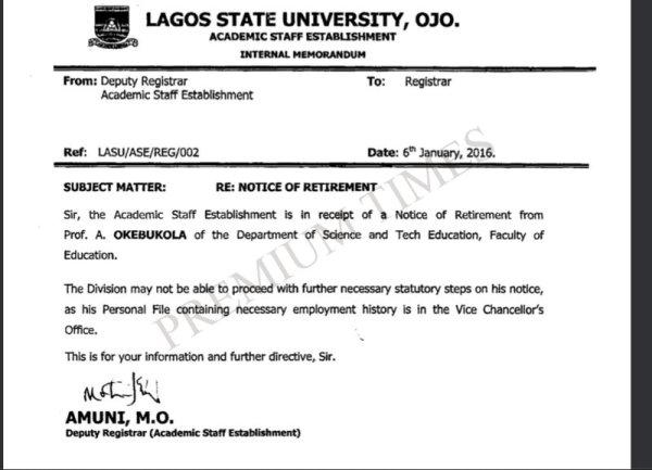 Memo by LASU's Registrar Indicting LASU VC in Okebukola's Age Falsification