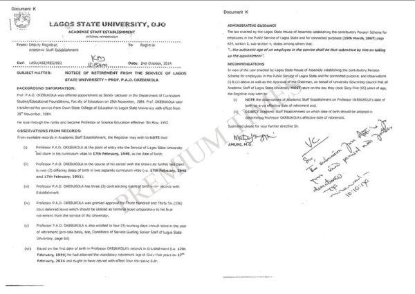 Memo from LASU Academic Establishment Showing LASU Management Knew of Pro Okebukola's Age Falsification