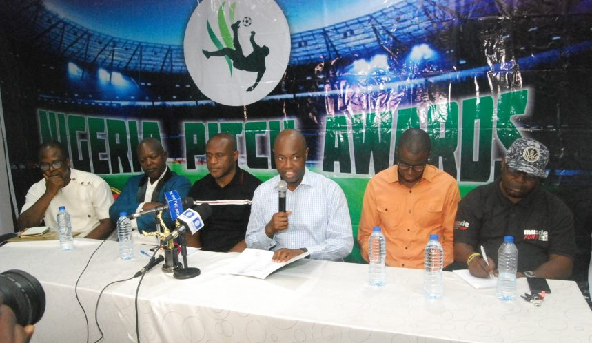 Super Eagles Media Officer, Toyin Ibitoye reeling out the list of nominees. PHOTO CREDIT: Tunde Eludini
