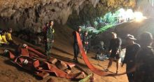 File photo of Royal Thai Navy in the Tham Luang cave during rescue operations in Chiang Rai, Thailand (Photo Credit: The Irish Times)