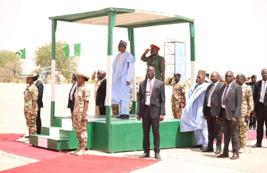 President Buhari in Maiduguri, Borno State, on an official visit.