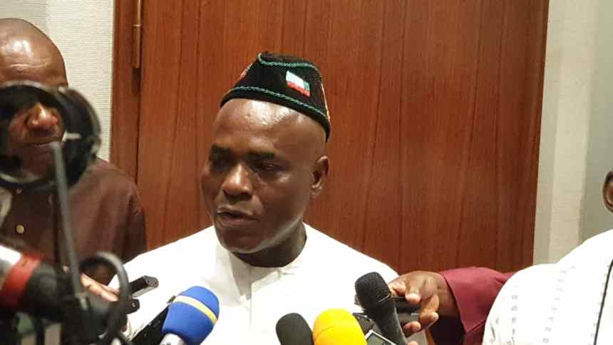 Senior Special Adviser to the President on National Assembly Matters, Sen. Ita Enang speaking during his appearance on the News Agency of Nigeria (NAN) Forum in Abuja on Tuesday (11/9/18).