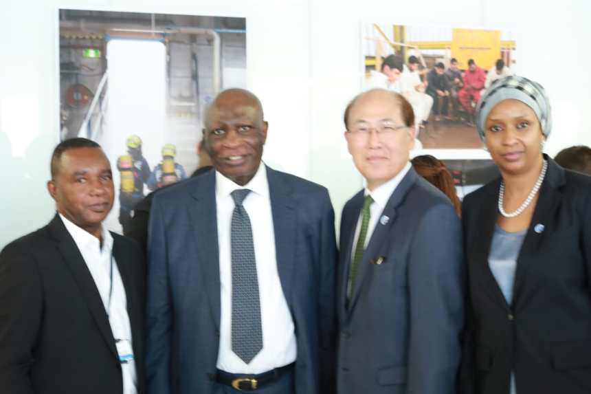 Alternate Permanent Representative to the International Maritime Organisation (I.M.O), Mr Dikko Bala, Nigeria's High Commissioner to the UK ,Justice George Adesola Oguntade(rtd), Secretary General, (IMO), Kitack Lim and Managing Director, Nigerian Ports Authority ,Hadiza Bala Usman at the the 43rd Session of the Facilitation Committee of the IMO in London, weekend.