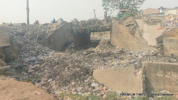 Drainage turned dumpsite behind Government Day Junior secondary School, Suleja