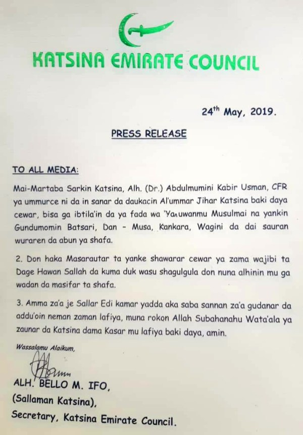 The statement from the Katsina Emirate