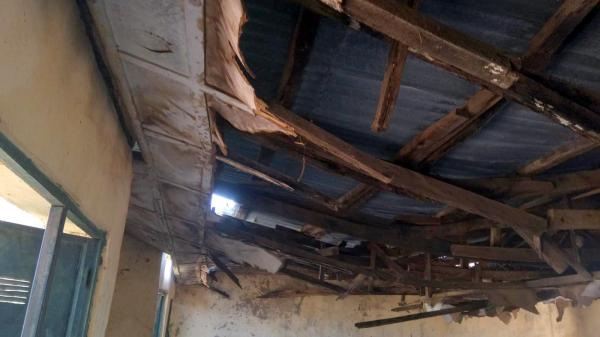 Caved-in roof in Apawu Classroom
