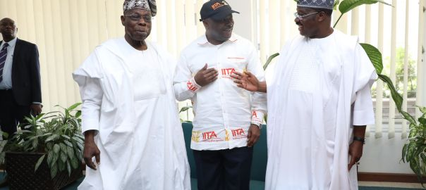 L-R- Former Nigeria President, and IITA Goodwill Ambassador, Chief Olusegun Obasanjo; IITA Director General, Dr Nteranya Sanginga; and Oyo State Governor, Senator Abiola Ajimobi during the commissioning of projects in IITA today (Saturday)