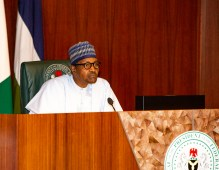 President Muhammadu Buhari at a Federal Executive Council meeting