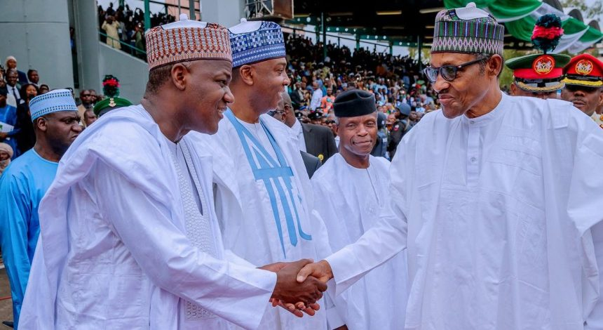 President Muhammadu Buhari exchanging pleasantries with Senate President Bukola Saraki and Speaker Yakubu Dogara