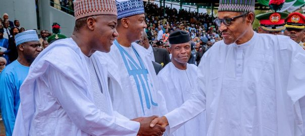 President Muhammadu Buhari exchanging pleasantries with Senate President Bukola Saraki and Speaker Yakubu Dogara