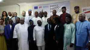 Group photograph at Premium Times centre for Investigative Journalism (PTCIJ) Press freedom in Nigeria.