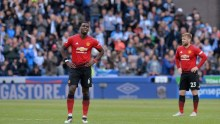 Manchester United players disappointed after the match against Huddersfield (Photo Credit: Reuters on Google)