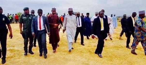 Caption: Zamfara governor in Lilo village) Credit, Office of Zamfara SSG