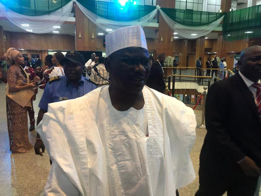 Senator Ahmed Ndume, contender for the senate presidency arriving the senate chamber.