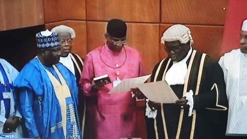 Senator Omo-Agege taking oath of office