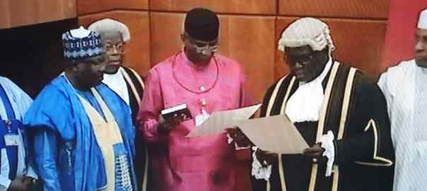 Senator Omo-Agege taking oath of office
